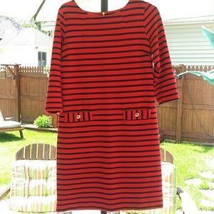 Dalia red/navy striped dress medium
